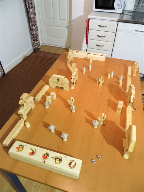 diy wooden games diy flick em up board game made from wood my northern diary