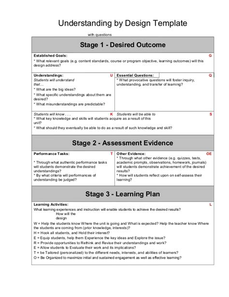 understanding by design lesson plan template ubd understanding by design lesson unit planning