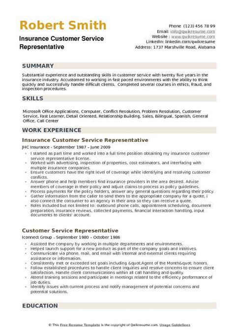 Resume For Customer Service Rep by Insurance Customer Service Representative Resume Sles