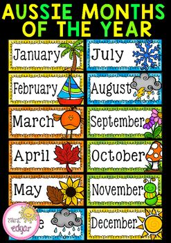 printable months poster months of the year australian seasons display