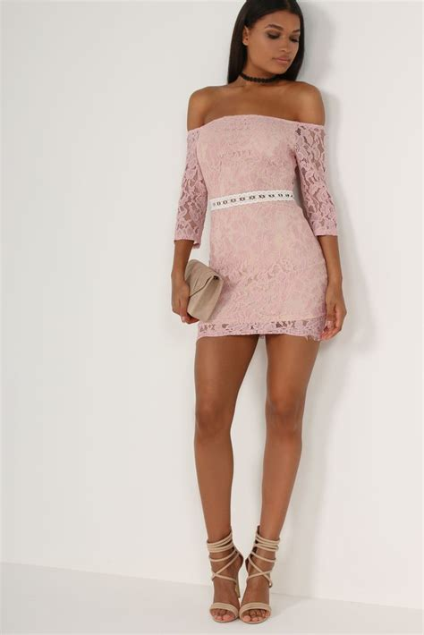 Id Pink Lace Dress pink lace bardot dress my dress