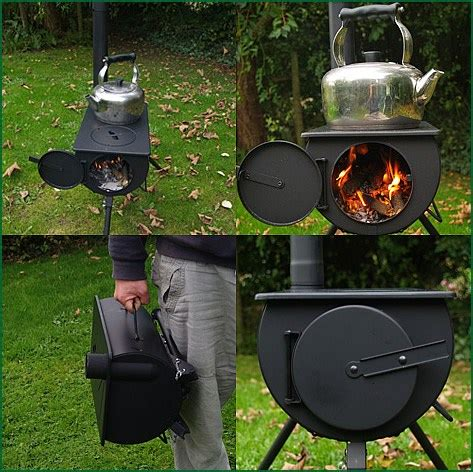 Outdoor Fireplace Kits Canada - frontier portable wood burning stove with spark arrestor frontier camping stove ebay