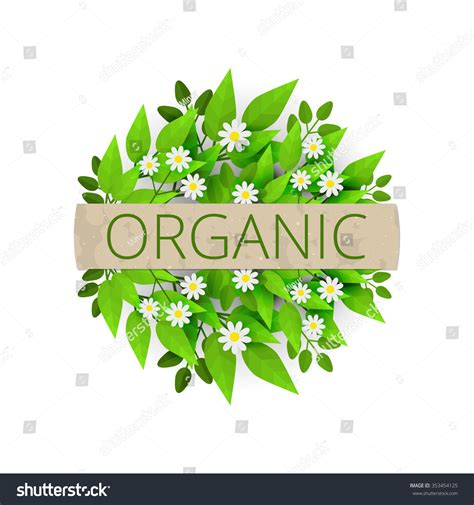 California Green Label Fresh Flower circle floral banner with fresh leaves and chamomile flowers organic label green plants and