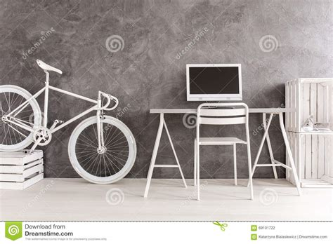 Diy Bike Desk Modern Home Office In Grey And White Stock Photo Image 69101722