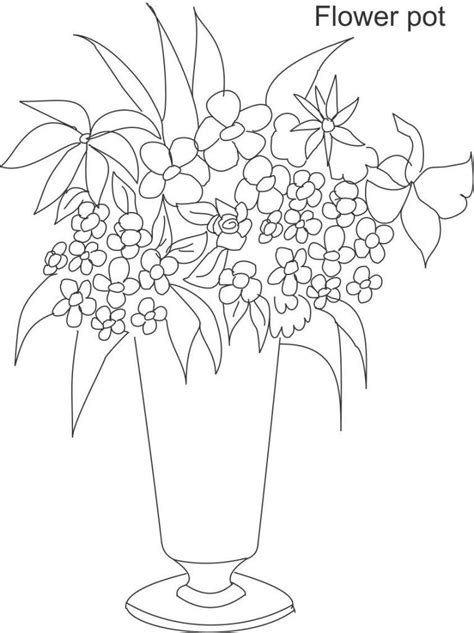 coloring pages of flowers in a pot flower pot coloring pages coloring home