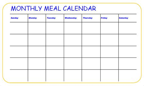 monthly food calendar template meal planning calendar calendar template 2016