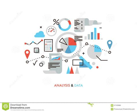 Mba In Business Analytics In Usa by Data Analysis Flat Line Illustration Stock Vector Image