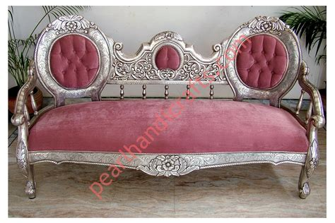 silver sofa set carved wooden for home pearl handicrafts