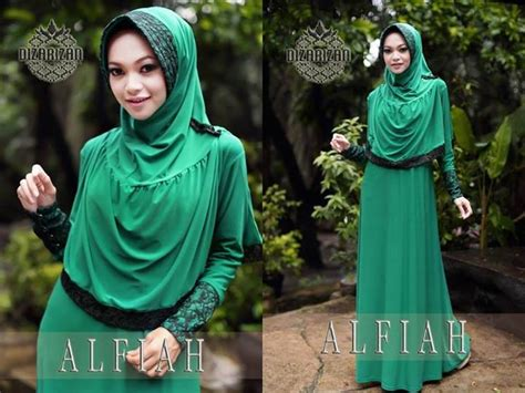Jilbab Syar I Hijau gaya muslim modern open po alfiah syar i hijau