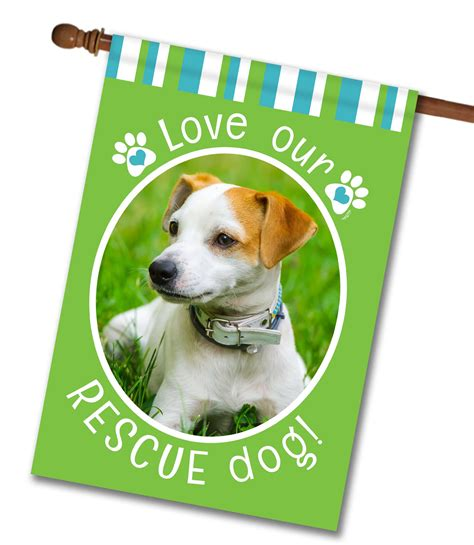 dog house rescue rescue dog green photo house flag 28 quot x 40 quot custom printed flags flagology com