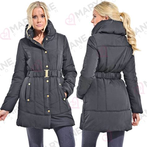 Womens Black Quilted Coat by Womens Black Padded Quilted Funnel Neck Belt