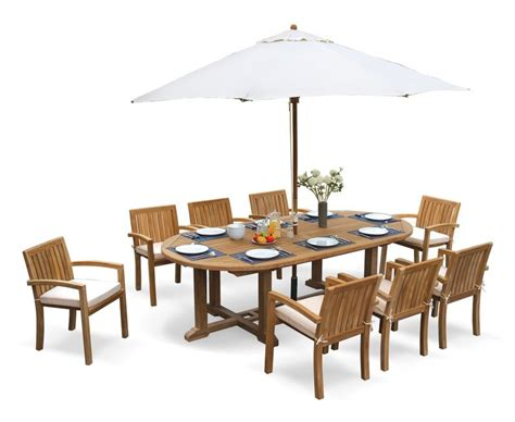 8 seater patio set with hilgrove oval table 2 6m monaco