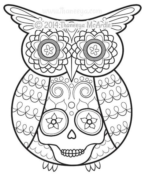 day of the dead owl coloring pages day of the dead coloring book by thaneeya mcardle