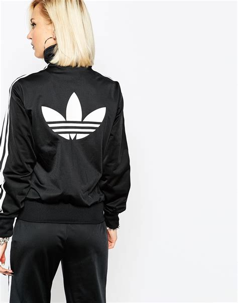 Jaket Hoodie Tgh Black Original adidas originals 3 stripe zip front track jacket at asos