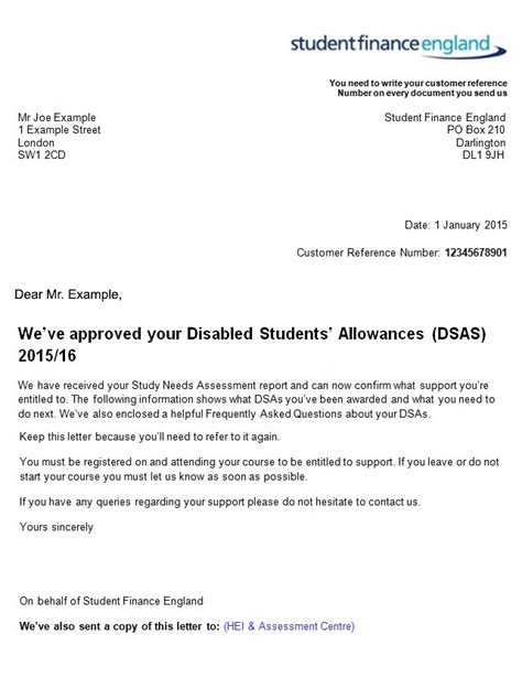 Student Finance Letter Not Received Dsa Microlink