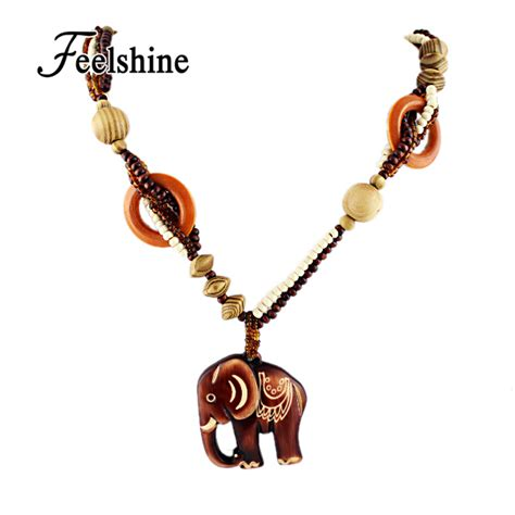 boho ethnic jewelry made bead wood elephant