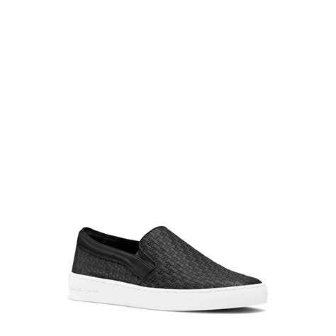 michael kors slip on sneakers lyst michael kors colby leather slip on sneaker in black