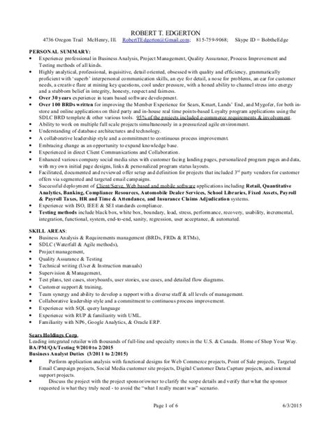Ba Resume by Ba Pm Qa Resume