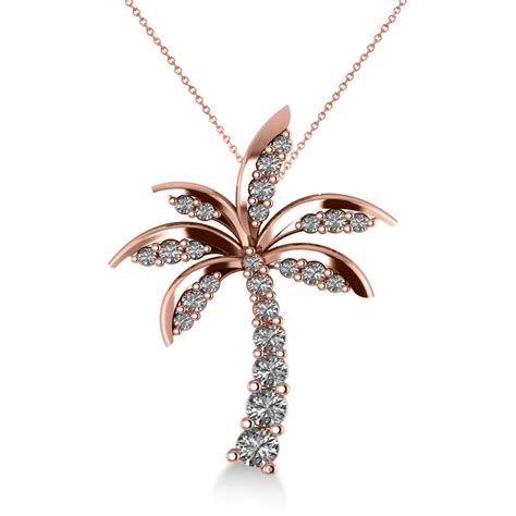 Tree Friendly Pendant Necklace by Tropical Palm Tree Pendant Necklace 14k Gold