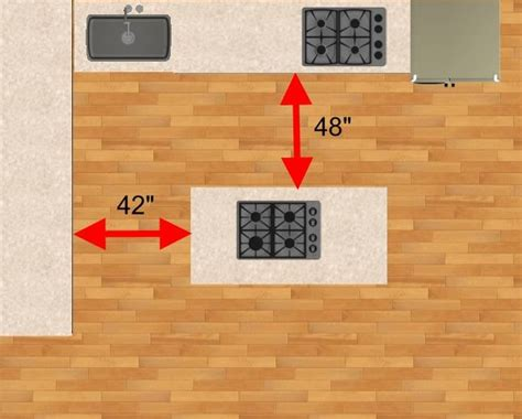 space between island and counter distance between counter and island tips