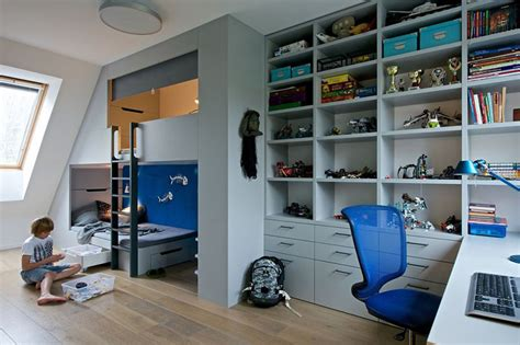 Bathroom Storage Ideas For Small Spaces boys bedroom with sleeping loft and plenty of storage