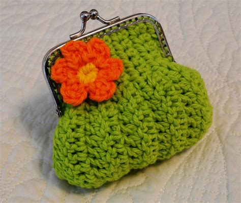 crochet pattern frame purse lime green crochet coin purse with a flower and snap frame