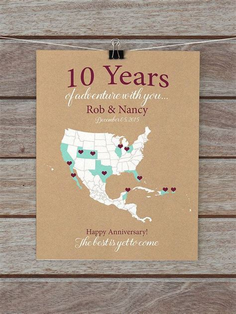 10 year anniversary gifts 10th anniversary personalized map of travels gifts for him husband