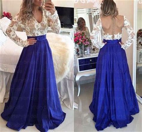 Wst 12011 V Neck Dress Blue diyouth v neck sleeves white lace top open