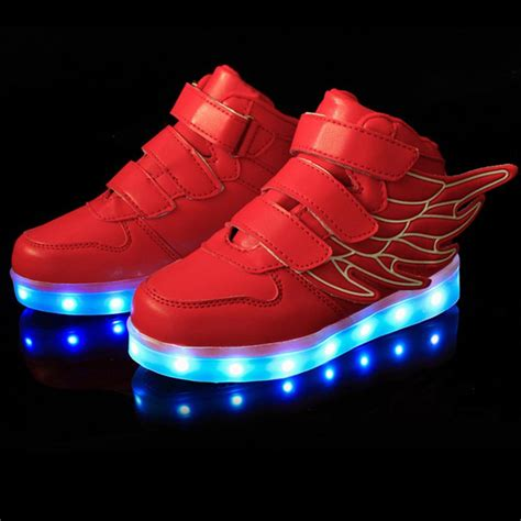 26 30 Wings Led Shoes boys led light up lace up luminous sneakers casual shoes wings ebay