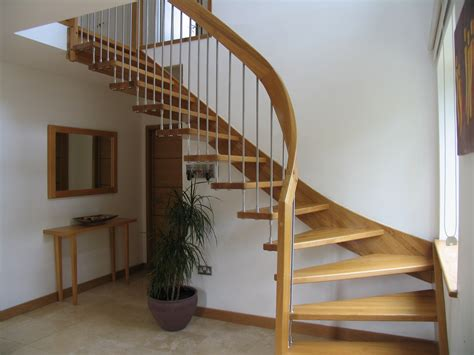 Timber Stairs Design Fancy Curved Modern Staircase With Wooden Frames As Space Saving Interior Feat White Wall