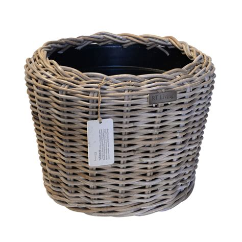 Planter Liner Plastic by Grey Rattan Planter With Plastic Liner Roudham Trading