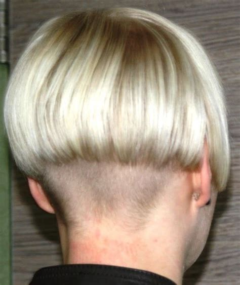short hair with length at the nape of the neck very short undercut bob with extremely short clippered
