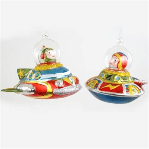 tree ornaments mid century modern flying saucers tree