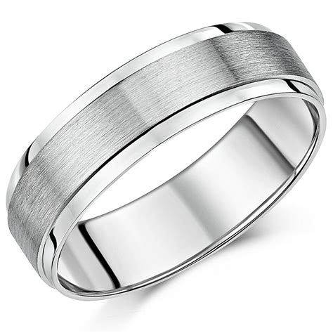 palladium wedding ring 500 brushed and polished finish 5mm
