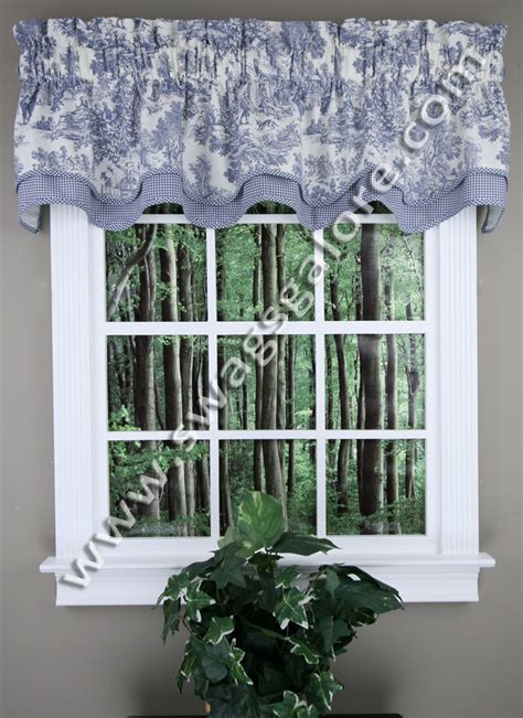 toile kitchen curtains victoria park bradford valance blue toile by ellis
