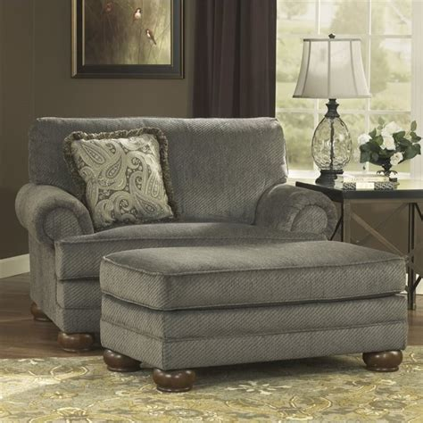 Ashley Parcal Estates Fabric Oversized Chair With Ottoman Oversized Chair Ottoman