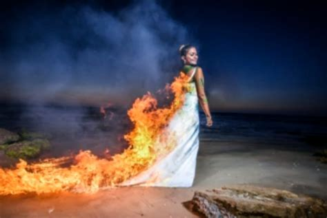 trash the dress trash the dress bride sets dress on fire in controversial