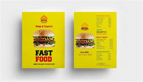 fast food restaurant menu template 000313 template catalog