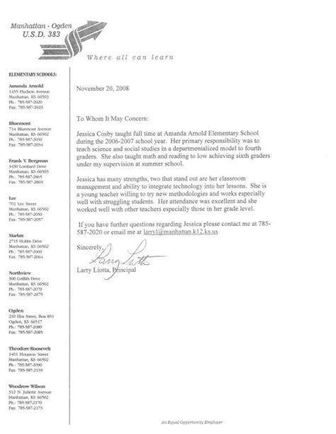 Recommendation Letter For Elementary Principal Reference Letter 2 Elementary And Esl Helping Students Grow
