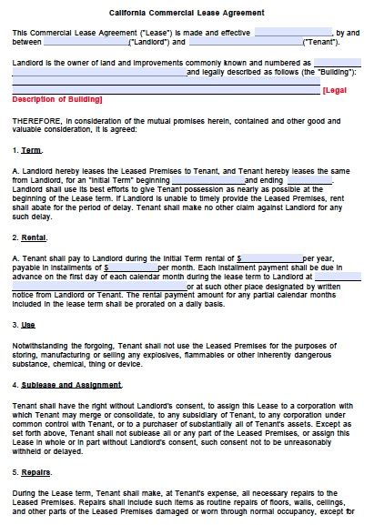 blank lease agreement california free california commercial lease agreement template pdf