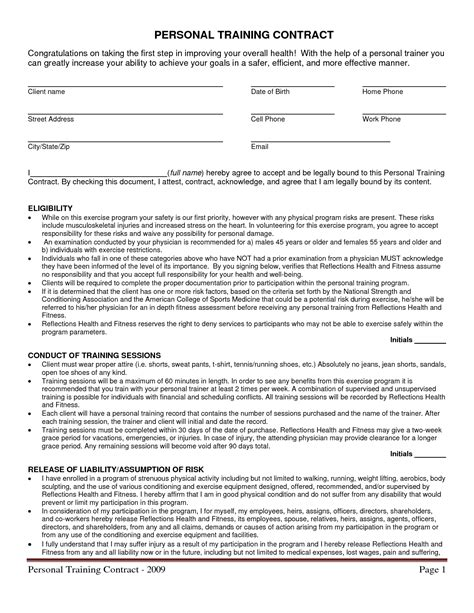 personal trainer contract templates personal contract template free printable documents
