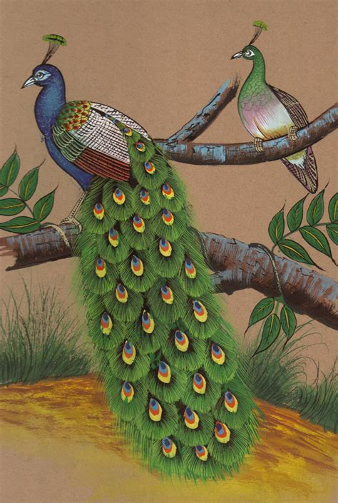 Handmade Nature Paintings - indian peacock painting handmade watercolor miniature
