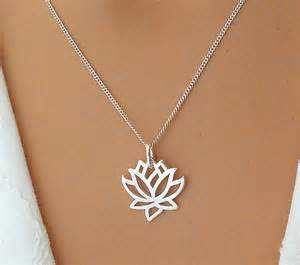 Sterling Silver Lotus Flower Pendant Lotus Necklace Sterling Silver Flower Necklace By Saraandjane