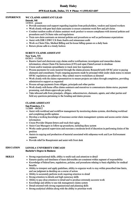 Claims Assistant Sle Resume by Claims Assistant Resume Sles Velvet