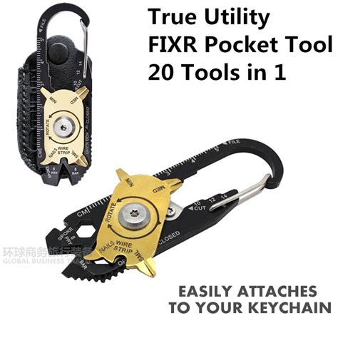 Utility Fixr Pocket Multitool 20 In 1 Edc Survival Keychain Tool True Utility Fixr Pocket Multitool 20 In 1 Edc Survival Keychain Tool New In Travel Kits From