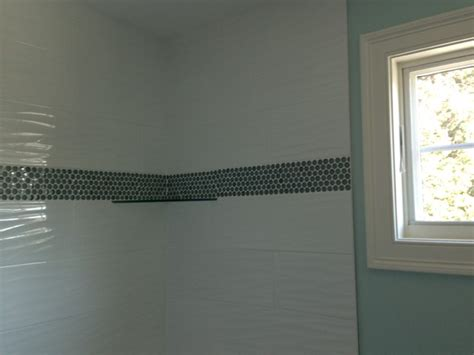 Rustic Bathroom Decor - white wave tile with border transitional boston by db interiors