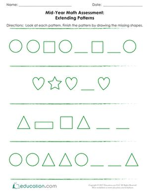 kindergarten pattern assessment kindergarten fall assessments education com