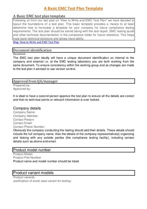 software test policy template a basic emc test plan template