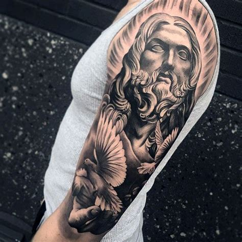 jesus sleeve tattoo 50 jesus sleeve designs for religious ink ideas