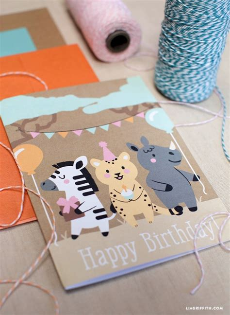 Papercraft Birthday Card - safari animal birthday card by lia griffith project